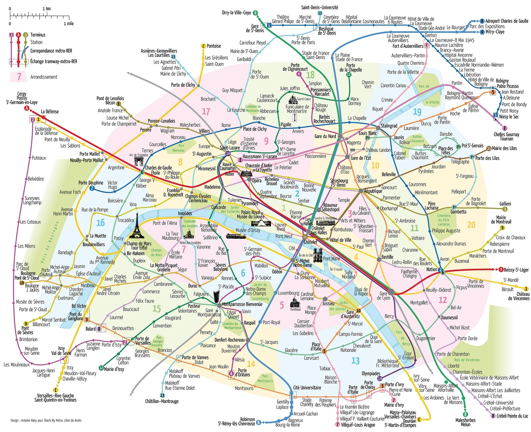 Paris Metro Map Paris France - Paris map metro